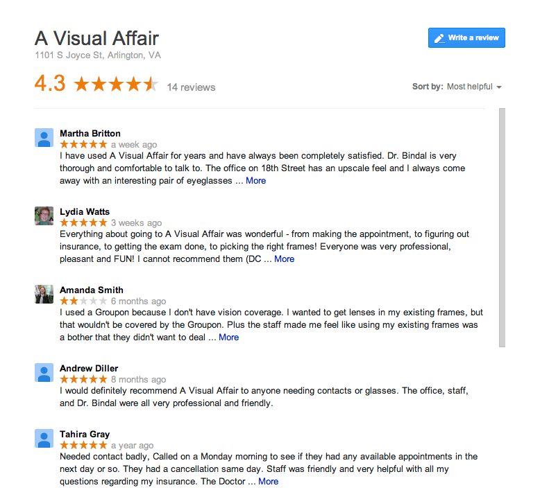 a visual affair google reviews image